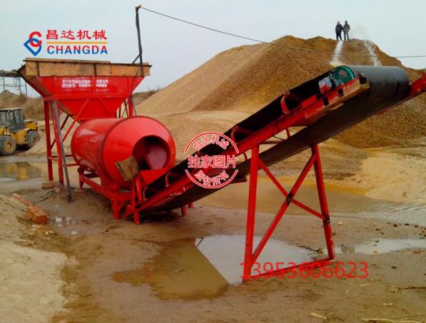 滚筒式洗石机加长5米型工作现场